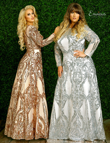 Envious Couture 1433 Size 22 Long Sequin Embellished Prom Dress Long Sleeve Shimmer
