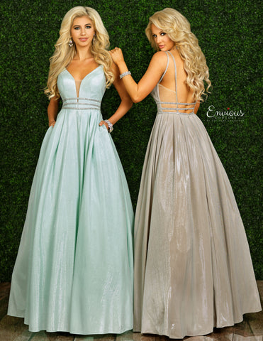 Envious Couture 1441 Size 12 Iridescent Shimmer Prom Dress Ball Gown Metallic Plunging Neckline 2020