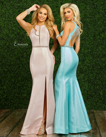 Envious Couture 1442 Size 4, 8 Fitted Long Mermaid Prom Dress Slit Open Back Tassel 2020 Gown