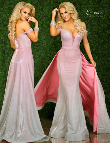Envious Couture E1443 by Karishma Creations is an Absolute Show Stopper! This Iridescent Shimmer Prom Dress Features a Pink Ombre Shimmer Color Change. Deep V Plunging Neckline with Off the Shoulder Straps. Mermaid Silhouette and an attached flowing train! Perfect for anyone wanting to Steal the Show! Great Pageant Go or for any Formal Event!   Available Colors: Pink Ombre  Available Sizes: 00, 0, 2, 4, 6, 8, 10, 12, 14, 16, 18, 20, 22, 24, 26, 28, 30