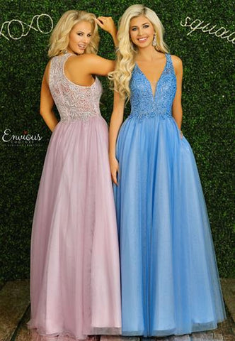 Envious Couture 1455 Size 18, 22 Embellished Lace Ball Gown Prom Dress 2020 V Neck Tulle Gown