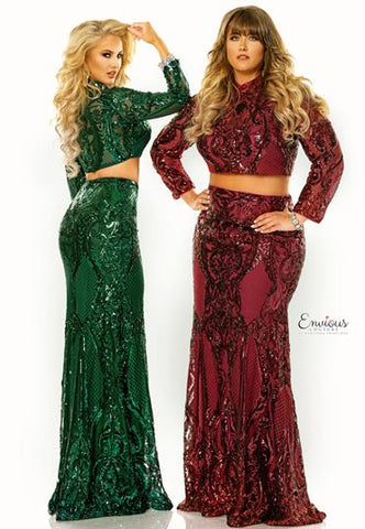 Envious Couture E1463 is a two piece Prom Dress, Pageant Gown & Formal Evening Wear. This Dress is a two piece long sleeve sequin fitted prom dress evening gown. 1463 Perfect for Plus Size Holiday Party Dress  Color:  Burgundy  Size:  6