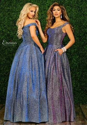 Envious Couture E1478 by Karishma Creations is a Long Iridescent Shimmer Prom Dress. Material is a Iridescent Shimmer color changing material with a cheetah print. This Ballgown features side pockets and a subtle scoop neck with off the shoulder sleeves. Formal Evening Gown, Pageant Dress   Available Colors: Iridescent Violet, Iridescent Blue  Available Sizes: 00, 0, 2, 4, 6, 8, 10, 12, 14, 16, 18, 20