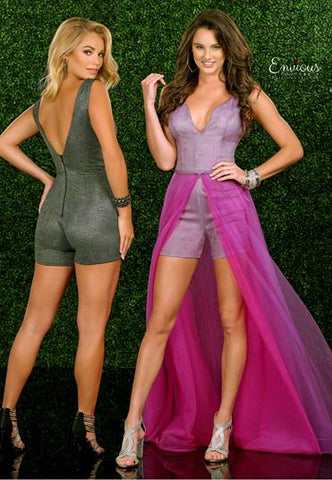 Envious Couture 1479 size 6 Glitter romper shorts overskirt prom dress