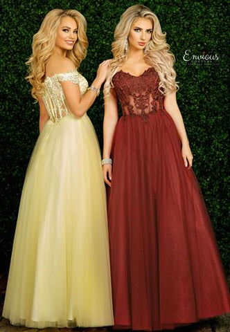 Envious Couture E1489 is a Long Prom Dress, Pageant Gown & Formal Evening Wear. This Gown Features Lace Embellished off the shoulder straps with a sweetheart neckline. Sheer Corset style bodice with beaded Floral lace applique and tulle prom dress evening gown pageant dress 1489 A Line Ballgown Romantic  Color:  Canary Yellow  Size: 8
