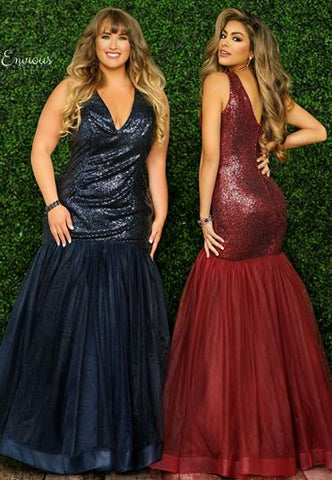 Envious Couture 1504 Size 24 V neckline sequin mermaid prom dress 2020 Tulle Plus Size Gown