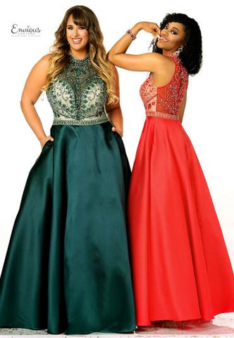 Envious Couture 1507 size 22 Long Sheer High Neck Prom Dress Pageant Plus Size