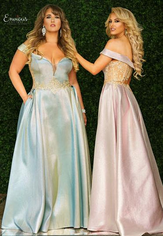Envious Couture 1510 Iridescent Off Shoulder Ballgown Prom Dress Gown
