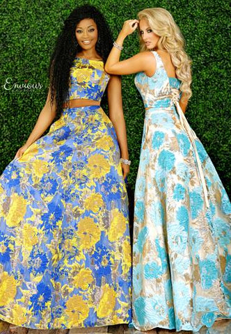 Envious Couture E 1520 Two piece A line print prom dress