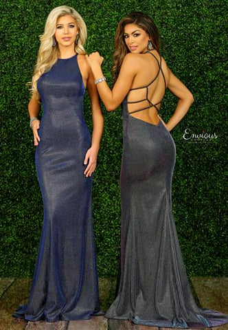 Envious Couture 1529 iridescent jersey fitted Mermaid Prom Dress Backless Train