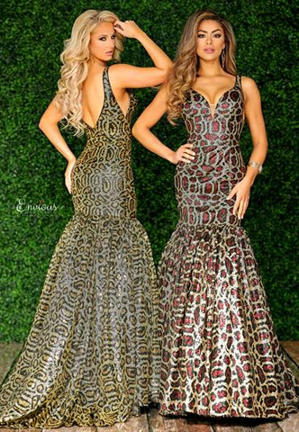Envious Couture E 1542 sequined leopard print mermaid prom dress