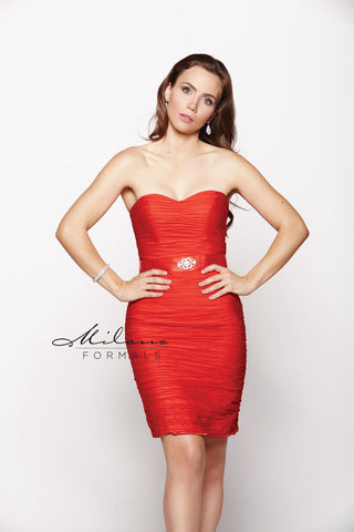 Milano E1544 Size 16 Short fitted strapless Formal Cocktail Dress Plus Size