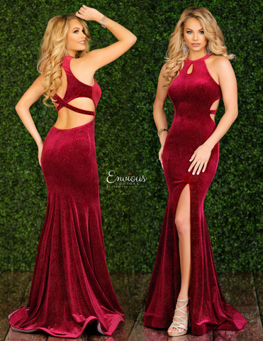 Envious Couture 1547 Size 4 Long Shimmer Rose Velvet Prom Dress Pageant Gown Slit