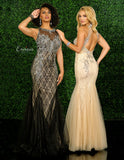 Envious Couture 1554 Lace Embellished Prom Dress Mermaid Sheer Neckline Open Back