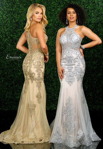 Envious Couture E 1563 size 10 Silver lace mermaid prom dress sheer neckline