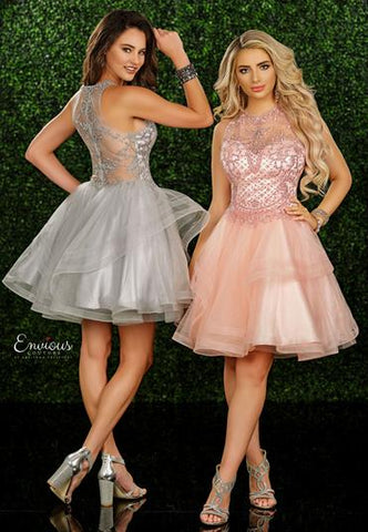 Envious Couture E 1567 embellished high neckline short prom dress