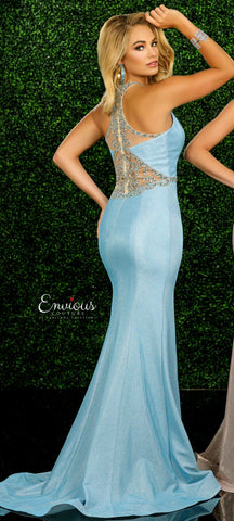 Envious Couture 1573 Size 12 Iridescent Shimmer 2020 Prom Dress High Neck Sheer Back Beaded