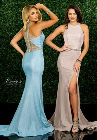Envious Couture E1573 Iridescent Shimmer 2020 Prom Dress High Neck Sheer Back Beaded