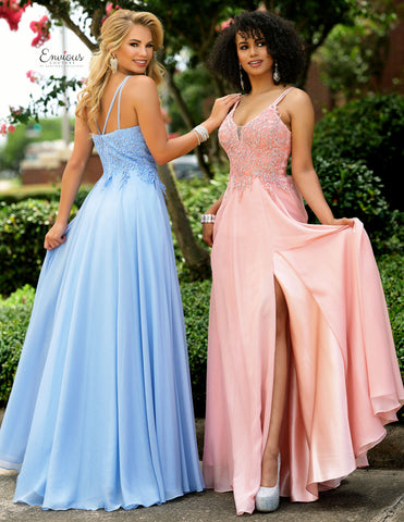 Envious Couture 1575 Size 12, 16 Long Embellished Lace Shimmer Chiffon Prom Dress 2020 Slit