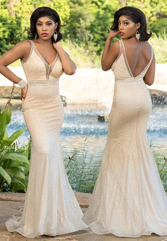 Envious Couture E1601 Plunging V neckline with sheer mesh outline and panel long fitted iridescent shimmer fitted prom dress evening gown pageant dress with embellished belt  Color Gold Ombre  Sizes 00, 0, 2, 4, 6, 8, 10, 12, 14, 16, 18, 20
