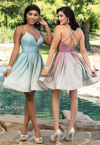 Envious Couture E1604 v neckline shimmer jersey ombre fit and flare cocktail dress with pleats short prom dress or homecoming dress with double criss cross straps in the open back Colors Pink Ombre, Mint Ombre  Sizes 00, 0, 2, 4, 6, 8, 10, 12, 14, 16, 18, 20, 22, 24, 26, 28, 30