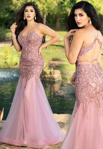 Envious Couture E1605 v neckline sequin tulle fit and flare long prom dress.  This evening gown has a sheer mermaid tulle skirt with horsehair trim. Perfect for your prom or pageant or special formal event. Color Dusty Pink  Sizes 00, 0, 2, 4, 6, 8, 10, 12, 14, 16, 18, 20
