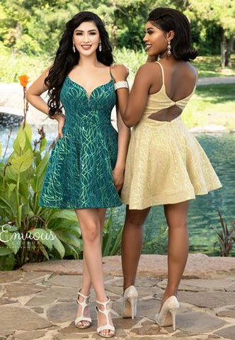 Envious Couture E1607 v neckline and cutout back short fit and flare cocktail dress homecoming dress with glitter details Colors Emerald, Gold  Sizes 00, 0, 2, 4, 6, 8, 10, 12, 14, 16, 18, 20