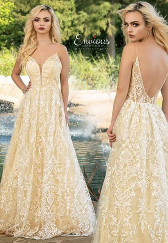 Envious Couture E1608 plunging v neckline with mesh panel lace A line long prom dress with sheer lace low v back  Color White/Yellow  Sizes 00, 0, 2, 4, 6, 8, 10, 12, 14, 16, 18, 20