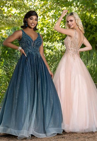 Envious Couture E1613 plunging V neckline with mesh panel and sheer back with embellished beading throughout the bodice and back that flows into a full glitter tulle ball gown skirt. Perfect for prom, pageant or your next formal event.   Colors  Blush, Teal  Sizes  00, 0, 2, 4, 6, 8, 10, 12, 14, 16, 18, 20, 22, 24, 26, 28, 30