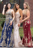 Envious Couture E1615 long embellished applique lace fitted prom dress with open lace up tie corset back Colors: Burgundy/Gold, Champagne/Gold, Navy/Gold  Sizes  00, 0, 2, 4, 6, 8, 10, 12, 14, 16, 18, 20, 22, 24, 26, 28, 30