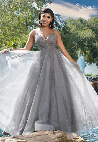 Envious Couture E1618 plunging v neckline embellished tulle prom dress ball gown with an open back Colors Gunmetal, Pink  Sizes 00, 0, 2, 4, 6, 8, 10, 12, 14, 16, 18, 20