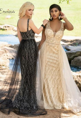 Envious Couture E1621 plunging v neckline with sheer panel glitter tulle fitted prom dress with sheer tulle overskirt that is scattered with glitter. Excellent choice of evening gown for your next pageant.  Colors Black, Gold  Sizes 00, 0, 2, 4, 6, 8, 10, 12, 14, 16, 18, 20