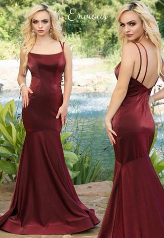Envious Couture E1622 fitted mermaid prom dress is shimmery taffeta evening gown has double straps down the open back and a sweeping train. Colors Burgundy, Silver, Ocean Blue  Sizes 00, 0, 2, 4, 6, 8, 10, 12, 14, 16, 18, 20