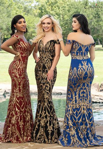 Envious Couture E1625 off the shoulder long fitted mermaid prom dress with sequin design.  This evening gown has a plunging v neckline with a sheer panel and a sweeping train which makes it perfect for your next pageant, prom or social event. Colors Burgundy/Gold, Royal/Gold, Black/Gold  Sizes 00, 0, 2, 4, 6, 8, 10, 12, 14, 16, 18, 20