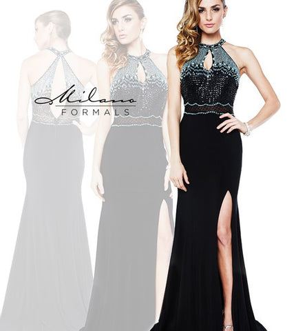 Milano Formals E 1854  Keyhole bodice with multi colored stones and beading jersey long evening gown in black with side slit Prom Dress Pageant Gown Formal Dress  Black Size 00