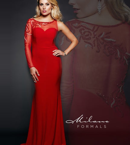 Milano Formals 1861 Red size 2, 6 Long Prom Dress Pageant Gown One Sleeve