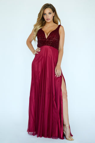 Jolene Exclusive E20007 Size 20 Long V Neck Sequin Prom Dress with Slit Open Back 2020