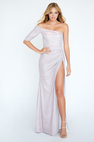 Jolene Exclusive E20026 High Slit Glitter Off the Shoulder One Sleeve Dress Formal