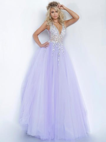 Jovani 65379 Sheer crystal embellished bodice tulle ballgown prom dress 2020