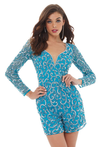 Ashley Lauren 4426 Who doesn't love a great romper? This romper features a V-Neckline, giving way to an intricate bead pattern throughout the romper and sleeves.  Colors Silver/Turquoise, Royal/Black  Sizes 0,2,4,6,8,10,12,14,16  V-Neckline Long Sleeve Fully Hand Beaded Romper Pockets