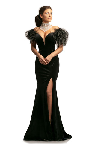 Johnathan Kayne 9249 Velvet plunging neckline feather boa prom dress evening gown