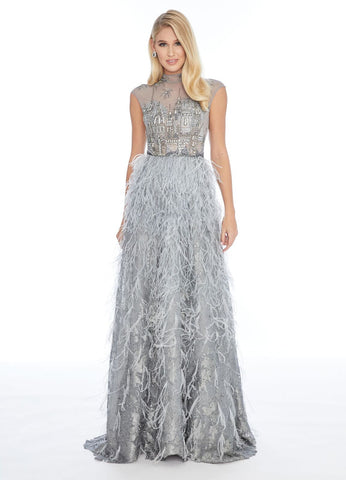 Ashley Lauren 1886 beaded cityscape feather skirt evening gown