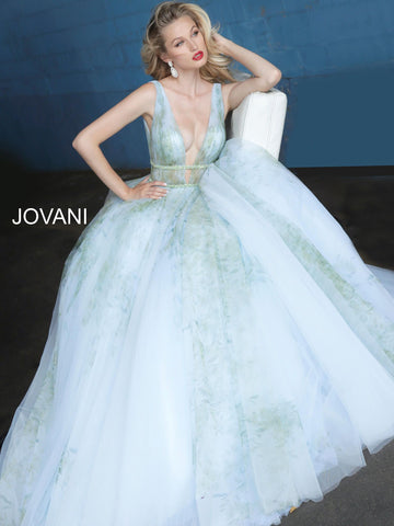 Jovani 1125 plunging neckline jovani prom dress evening gown ball gown   Available colors:  Multi  Available sizes:  00-24