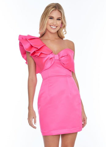 Ashley Lauren 4334 bow bodice one shoulder ruffle short cocktail dress