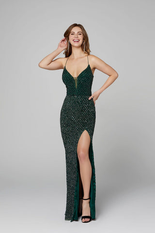 Primavera Couture 3235 v neckline beaded prom dress Prom Dress Slit Backless 2020