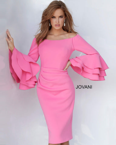 Jovani 02992 off the shoulder long bell sleeves cocktail dress