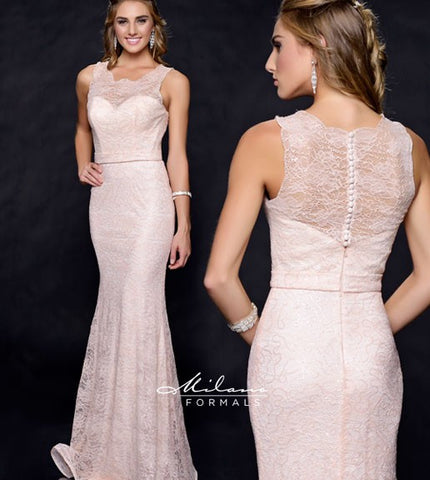 Milano Formals E1822 long lace dress in Peach Size 6