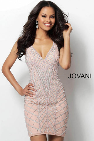 Jovani Pink Embellished V Neck Homecoming Dress 66314