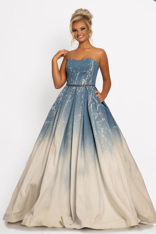 Johnathan Kayne 2261 Stand out in the crowd in this modified sweetheart neckline acid wash stretch denim A line prom dress ball gown.  This fun fashion pageant gown has a long acid wash ball gown skirt and is trimmed at the waist with an embellished belt.  Color  Denim  Sizes  00, 0, 2, 4, 6, 8, 10, 12, 14, 16