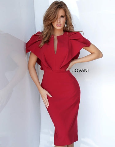 Jovani 00759 ruffle top scuba short cocktail dress